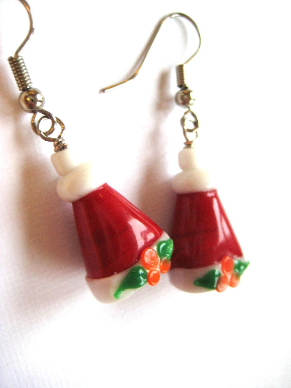 Santa hat earrings christmas jewelry lampwork glass beads