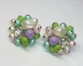 Reserved for Maria -Pastel Pearl & Bead Cluster Clip On Earrings - Vintage Japan