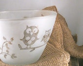 Owls Etched Glass Bowl