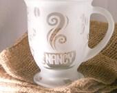 Glass Coffee Mug Personalized Etched 16 oz.