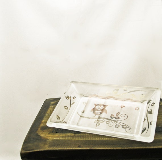 Soap Dish Etched Glass Kitchen Bathroom Home Decor