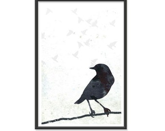 Bird Print - 13x19 Crow Poster - Black and White