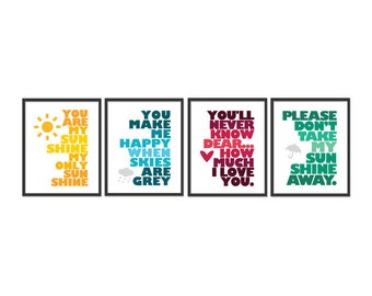 You are my sunshine - Set of Four 8x10 prints - Yellow, Blue, Red, Green