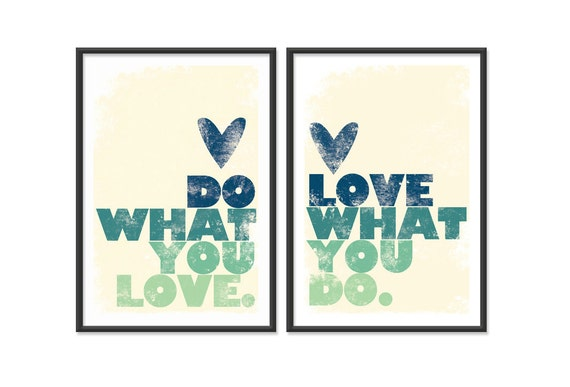 Do what you love - Set of Two 13x19 Prints - Blue and Green Shades