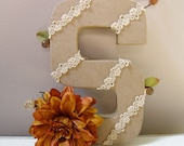 Fall inspired letter S - wedding decoration for cake topper, table centerpiece