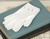 Vintage White Gloves with Pink Flower Accents