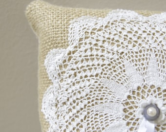 Doily Ring Bearer Pillow - Burlap pillow with white vintage doily with something blue pearl accent