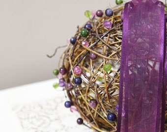 Purple Rustic Pomander Grapevine - Kissing Ball - Pew decoration - Flower Girl Alternative - Purple Wedding Decor - Rustic Wedding Decor
