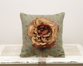 Green Floral Ring Bearer Pillow Vintage style