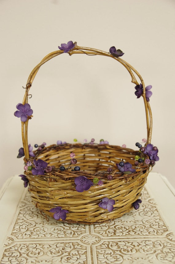 RESERVED for Jo - Flower Girl Basket with purple flower details - Rustic and romantic