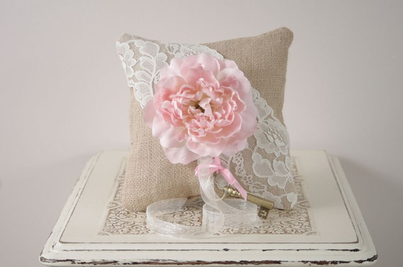 Ring Bearer Pillow - Burlap and Lace pillow with Pink Peony
