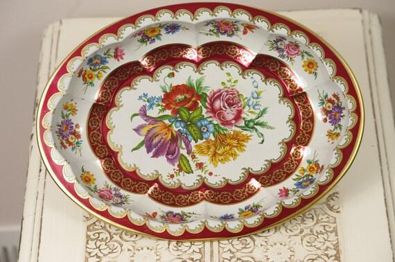 Vintage Daher Decorated Ware - Vintage Floral Metal Tray