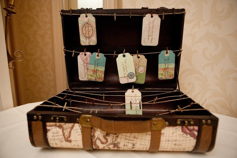 Trunk Place Card Display Travel Themed Vintage Style