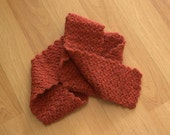 Reserved for Margaret: Handmade Crochet Scarf in Bright Red Orange for Women, Men, or Teens - 100% Peruvian Wool