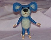 Needle Felted Blue Mouse - FREE SHIPPING to US and Canada