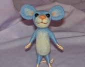 Needle Felted Light Blue Mouse - FREE SHIPPING to US and Canada