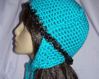 Turquoise Earflap Hat - FREE SHIPPING to US and Canada