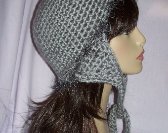 Grey Crochet Earflap Hat with Fun Fur Edging - FREE SHIPPING  to US and Canada