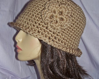 Light Brown Crochet Roll-Brim Hat with Removable Flower - FREE SHIPPING to  US and Canada