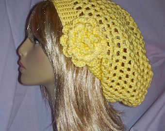 Sunshine Yellow Crochet Slouchy Hat with removable Flower - FREE SHIPPING to US and Canada