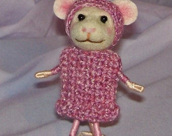 Needle Felted Mouse in Pink Crochet Sweater Dress - FREE SHIPPING to US and Canada