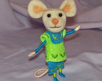 Needle Felted Mouse in Green and Blue - FREE SHIPPING to US and Canada