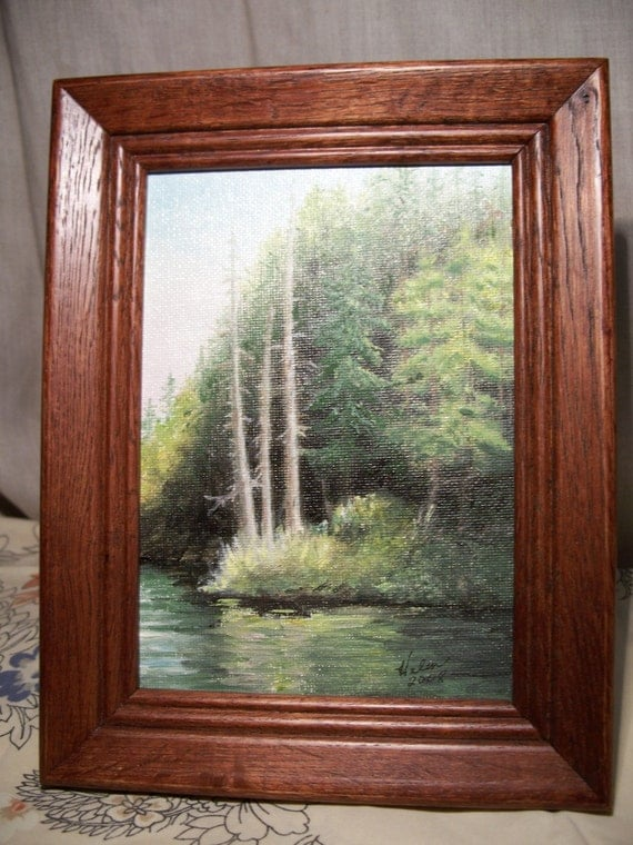 Original Oil Painting - Scenery on a Boat Ride in Clackamas Oregon - Free Shipping to US and Canada