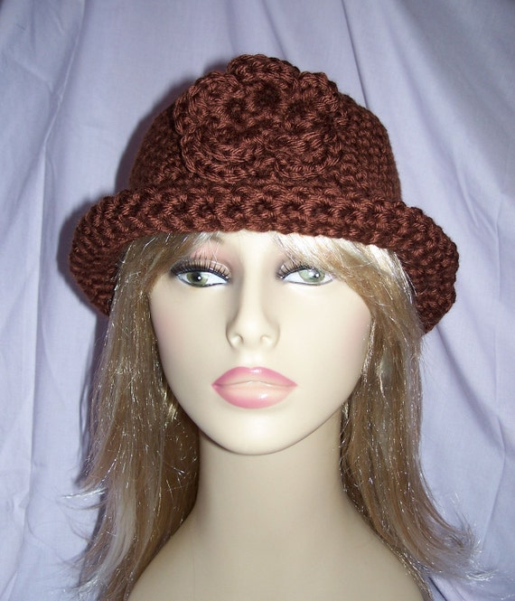 Chocolate Brown Crochet Roll-Brim Flower Hat - FREE SHIPPING to US and Canada