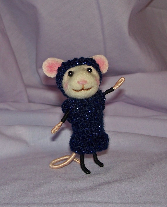Needle Felted Mouse in Black and Blue Sparkly Crochet Sweater Dress - FREE SHIPPING to US and Canada