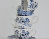Eclectic blue and white tea cups