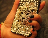 Free Shipping to USA blingbling crystal cover  cell phone case leopard for iphone 4/4S