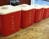 Lustro 'Ware Retro Red Plastic Kitchen Container Set