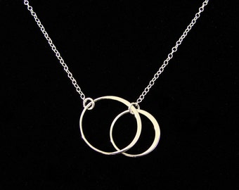 Necklace SILVER  Elegant Eternal Circles on Silver  Chain Large, bridesmaid gift, wedding, gift idea
