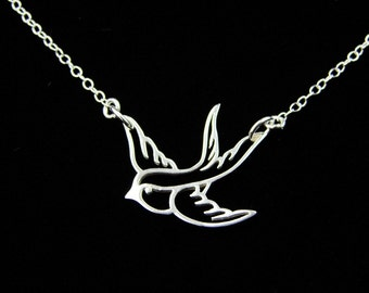 Sterling Silver Swallow Bird Necklace,Mother's Day Gifts,