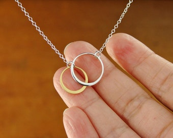 SILVER AND GOLD Elegant Eternal Circles on Silver Chain Medium