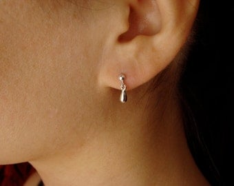 Tiny Teardrop Earrings in Sterling Silver dainty teardrop earrings gold