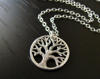 Small Oxidized Tree of Life Necklace on Sterling Silver,Mother's Day Gifts,
