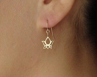 Bronze Lotus Blossom Earrings