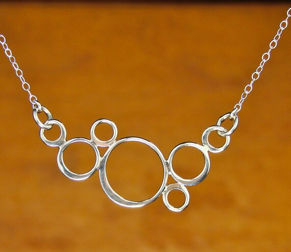 Sterling Silver Bubble Circles Necklace