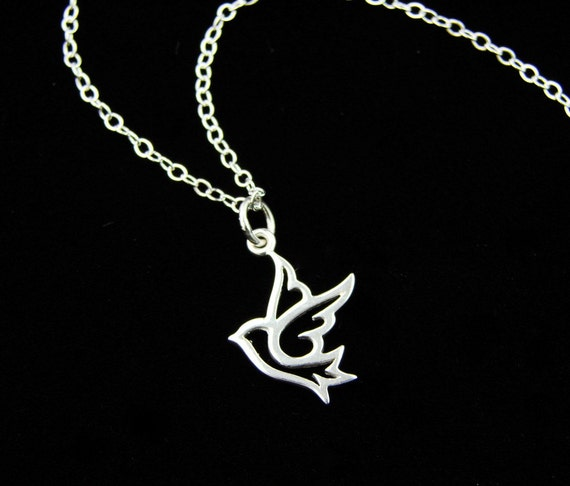 Cute Dove Pendant Necklace in Sterling Silver