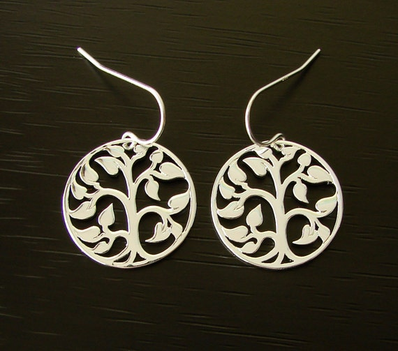 Silver Plated Bronze Tree of Life Earrings