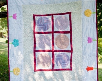 Patchwork Baby Quilt, Girl Contemporary Blanket, Appliqued Garden Flowers, Free Shipping, OOAK, Size - 52'/132 cm x 44'/112 cm