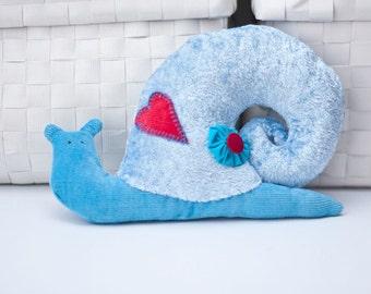Plush snail Blue snail Snail softie Stuffed animal Fabric snail toy Size 7.8 inch/20 cm x 5.9 inch/15 cm