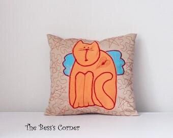 Orange cat pillow cover Decorative quilted pillow Childs room decor Primitive Tilda cat, appliqued, Size - 10.8 inch/27.5cm x 11.8 inch/30cm