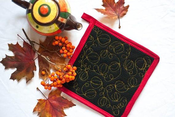 Pumpkins pot holder Thanksgiving decor Harvest hot mat set Fall decor wall hanging Halloween decor Size 7.9 inch/20 cm x 7.9 inch/20 cm