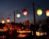 Chinese lanterns at night - postcard printed on 350g glossy paper with a laminated finish