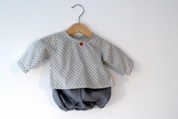SALE 50% - Ensemble 3 mois, tunique et bloomer coton et lin
