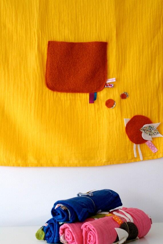 Doudou lange, à poche 70 x70 cm - SALE 50 %