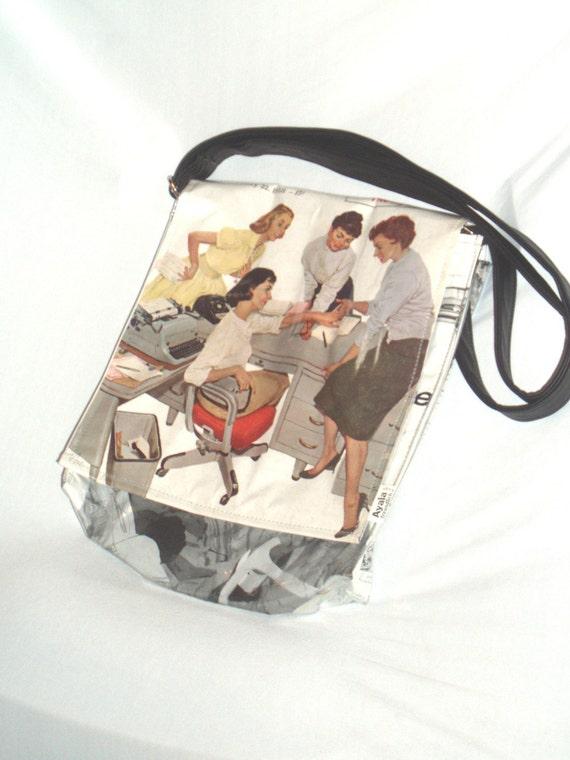 1958 Saturday evning post  vintage newspaer shoulder bag