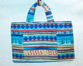 Purse Tote Bag Wallet  Indian Print Fabric Blue 00372
